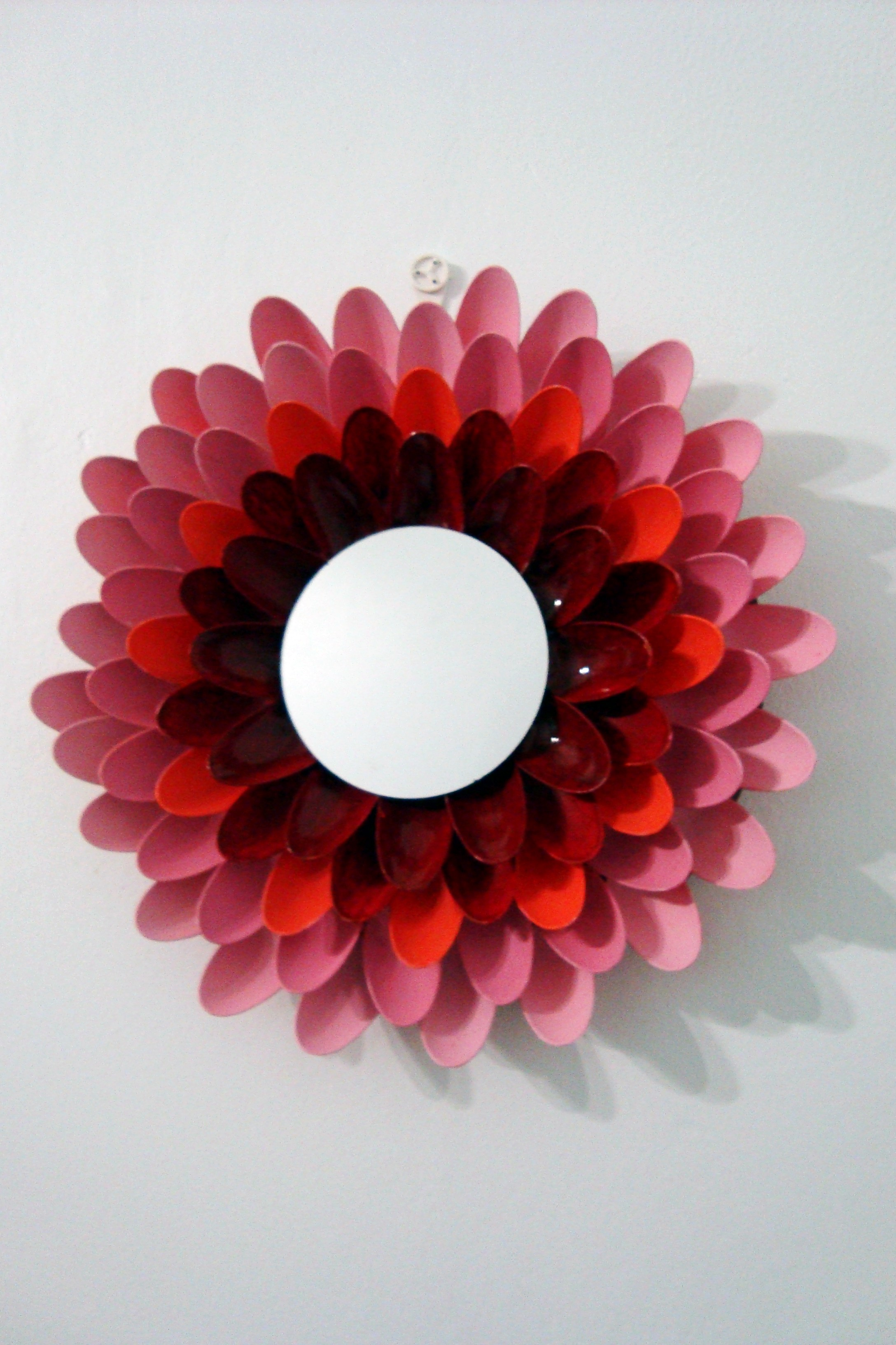 diy flower mirror made with plastic spoons lillyloompa